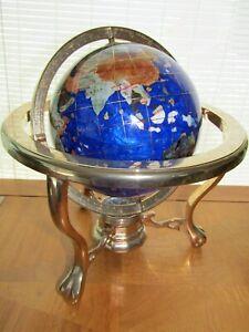 Gemstone Globe Lapis Ocean 3 Legged Brass Stand with Compass