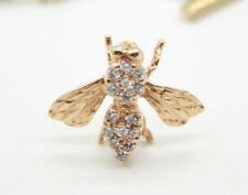 14K YELLOW GOLD BEE TIE TACS WITH DIAMONDS AND SAFETY CHAIN CAP