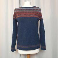 SEASALT Blue & Orange Fair-Isle Endurance Jumper (UK Size 12) Pure Wool Sweater