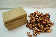 """COPPER PLUMBING VINTAGE WROT SOLDER-JOINT FITTINGS 1/2"""" ELBOWS 90 DEGREE BOX 70"""