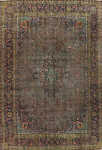 Antique Floral Traditional Overdyed Oriental Area Rug Hand-knotted Wool 10x13