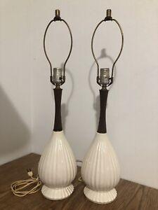 "Vtg MCM Pair Table Lamp Wood Ivory Ceramic Mid Century Danish Modern 26"""