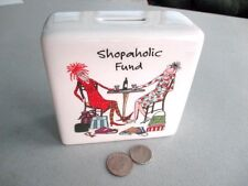 SHOPAHOLIC FUND Porcelain 2 Ladies/Shopping Bags/Drinking Wine RUSS BERRIE Bank