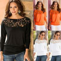 Women's Long Sleeve Lace Shirt Casual Blouse Loose Tops Autumn T-Shirt Size 4-10