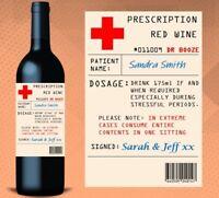 Personalised Prescription Pharmacy Novelty Wine Bottle Label Gift Xmas Birthday