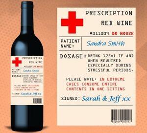 Personalised Birthday Gift Prescription Pharmacy Novelty Wine Bottle Label Gift