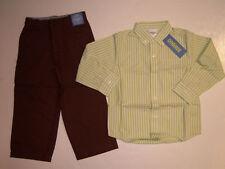 NWT Gymboree Aviator Green Stripe Shirt Linen Pants 3T