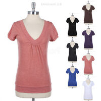 Women's Short Sleeve Front Ruched V Neck Plain Cotton Tee Shirt Top Casual