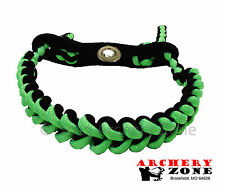 Green & BLACK Shark Tooth Weave Bow paracord wrist sling w/Leather yoke Archery