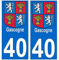Autocollant Gascogne 40 Landes plaque immatriculation auto