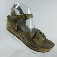 Corkys Buckle Platform Wedge Cork Sandals Ankle Strap Womens Size 10