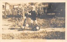 Real Photo Postcard~Young Victorian Girl Rides Flower Decorated Skooter~c1908