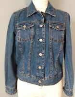 Liz Claiborne Womens Petite Medium PM Vintage Blue Denim Jean Jacket Classic EUC