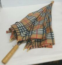 Vintage Burberry Tan Umbrella Wood Handle Excellent