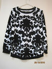 """ Suzanne Grae"" BLACK & WHITE COTTON AUTUMN WEIGHT KNIT TOP Size L -16"