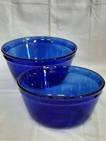 Vintage Anchor Hocking Cobalt Blue Mixing Nesting Bowls Set Of 2 Made In U.S.A.