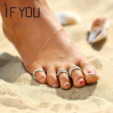 3PCS/Set Summer Beach Flower Toe Ring Set Women Vintage Charm Silver Color Foot