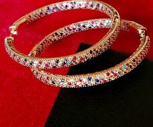 Rose Gold Stud Earrings MultiColor Cubic Zirconia Hoop Earrings UK