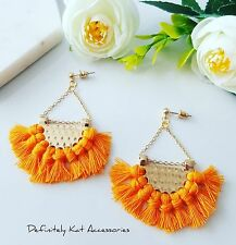 Vibrant orange tassel fan dangling gold cocktail statement stud earrings