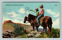 Cowhands In The Great Southwest Scouting, Linen c1956 Postcard