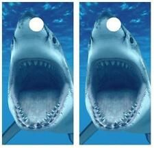 Great White Shark Vintage Cornhole Board Decal Decal Wrap w/Free Squeegee