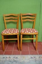 Two 2 Pair Retro Vintage Dining Kitchen Chairs Orange Design Freshly Upholstered
