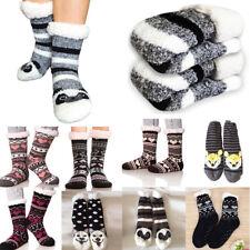 Womens Fleece Fur Lined Slipper Socks Thermal Girls Non Slip Xmas Lounge Booties