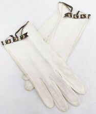 New listing Vtg leather womens wrist white gloves with floral applique trim