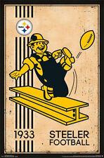 PITTSBURGH STEELERS - RETRO LOGO POSTER - 22 x 34 NFL FOOTBALL 13181