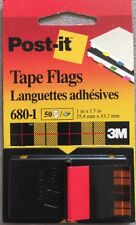 """Tape flags, Post-it, 3M, 1inX1.7"""", one dispenser of 50 flags, 680-1, Red"""