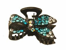 MiniE050 blue mini size hairstyling crystal embellished sequined jaw hair clip