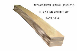 Replacement Bed Slats for a King Size Bed - Beech Sprung - 10 Pack