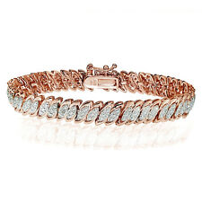 18K Rose Gold Tone Natural Diamond Accent Marquise S Tennis Bracelet in Brass