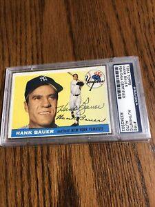 Hank Bauer #166 1955 Topps Autographed PSA/DNA Yankees