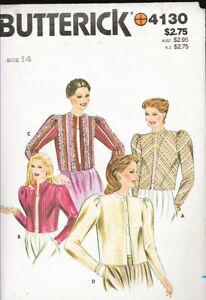 Butterick 4130 c1980s; Misses' Jacket. Loose-fitting Lined Jacket, Sz 14, FF