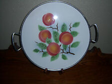 New listing Beautiful Vtg Ivory Fruit Design Ceramic Serving Platter w/Metal Holder