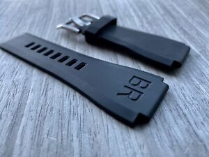 Bell & Ross BR-X1 BR01 BR03 Black rubber Band AFTERMARKET strap Silver Buckle
