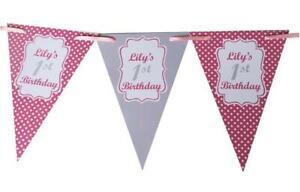 PERSONALISED PolkaDot BUNTING Baby Shower Hen Birthday party Christening 60th