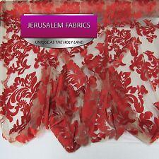 Wonderful Italian Design bridal wedding mesh lace red. Sold by the yard.