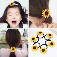 GN- 5PCS GIRLS SUNFLOWER ELASTIC HAIR TIES BANDS ROPE RINGS PONYTAIL HOLDERS NIC