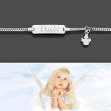 Schutzengel Baby Taufe Name Datum Gravur Armband Echt Gold Weißgold 333 14 16 cm