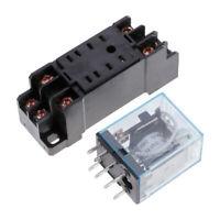 Hot!HH52P-L MY2NJ Mini 12V DC 5A Coil Power Relay 8 Pins DPDT With Socket Base