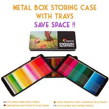 120 Coloured Pencils Metal Box Colors Art Artists Adults Children Zenacolor