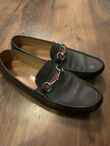 Dark Brown Gucci Horsebit Ribbon Driving Loafer Shoe Uk 10 Us 11