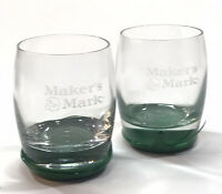 Set of 2 Makers Mark Whiskey Glasses Green Wax Dip Bourbon Whiskey Kentucky