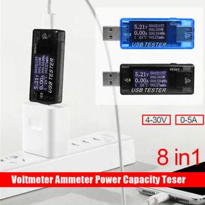 8-in-1 Digital USB Tester LED Voltmeter Ammeter Current Meter Power Detector