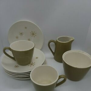 Vintage STAR GLOW Royal China Cups/Saucers, creamer, sugar,  (11 pieces)