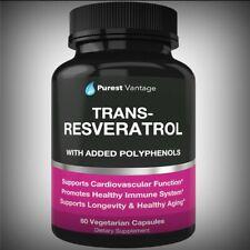 Potent Pure Trans Resveratrol 1400mg Quercetin Grape Seed Green Tea-Heart Immune