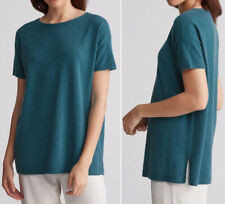 EILEEN FISHER Nile Short Sleeve Italian Cashmere Tunic Sweater XS Teal NEW