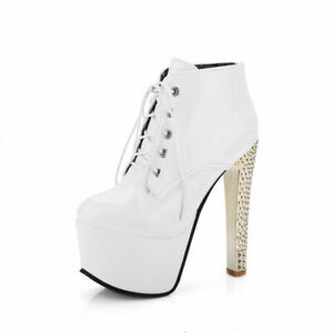 Ladies' Sexy Club Shoes Platform High Heels Pumps Round Toe Lace Up Ankle Boots